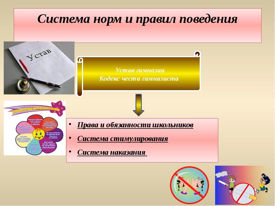 Система норм и правил поведения Права и обязанности школьников Система стимул...