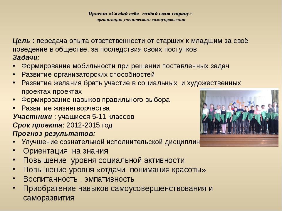 Проект «Создай себя- создай свою страну»- организация ученического самоуправл...