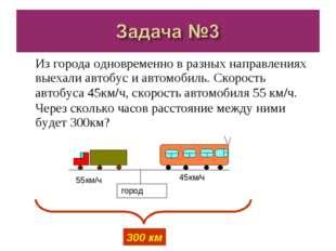 Из города одновременно в разных направлениях выехали автобус и автомобиль. Ск
