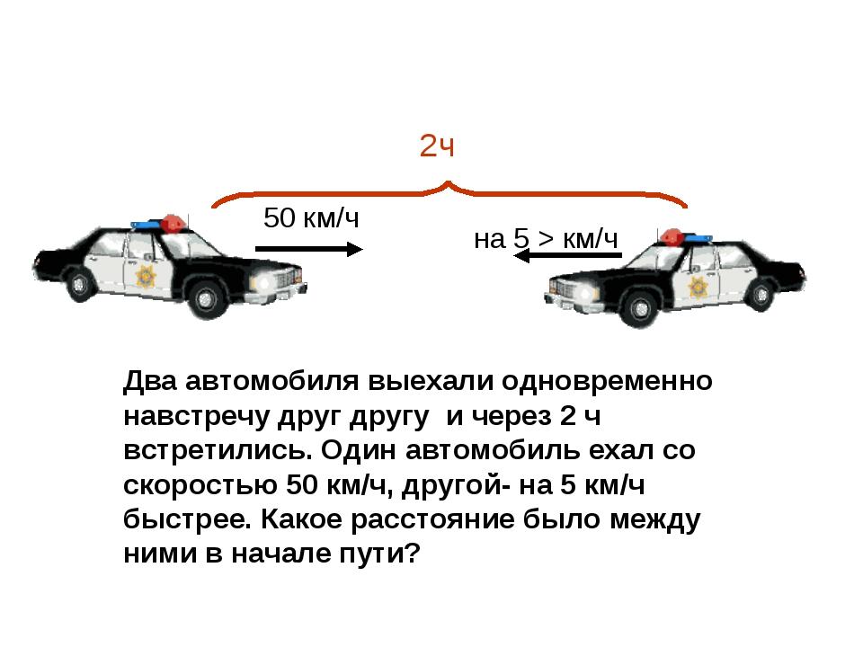 2ч 50 км/ч на 5 > км/ч Два автомобиля выехали одновременно навстречу друг дру...