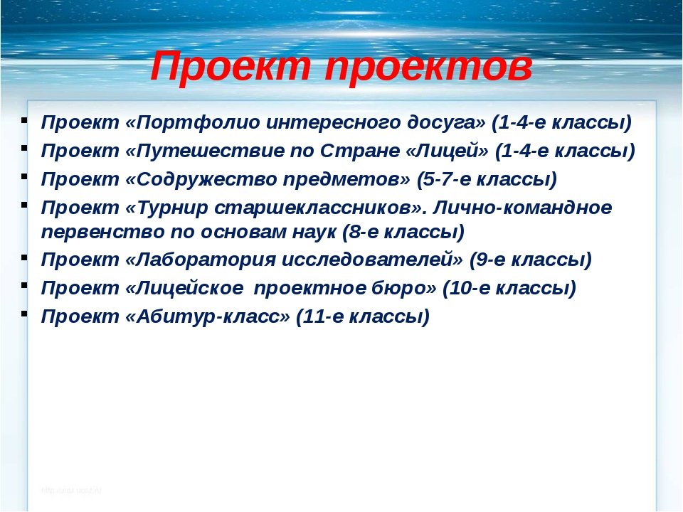 Проект проектов Проект «Портфолио интересного досуга» (1-4-е классы) Проект «...