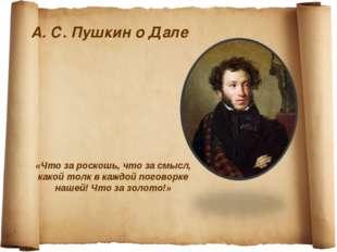 А. С. Пушкин о Дале «Что за роскошь, что за смысл, какой толк в каждой погово