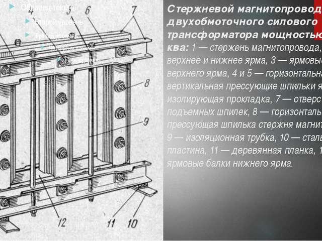 Стержневой магнитопровод двухобмоточного силового трансформатора мощностью 18...