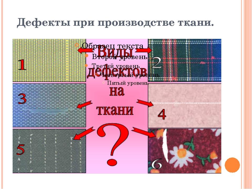 Дефекты при производстве ткани.