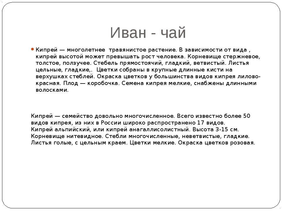 Иван - чай Кипрей — многолетнее травянистое растение. В зависимости от вида ,...