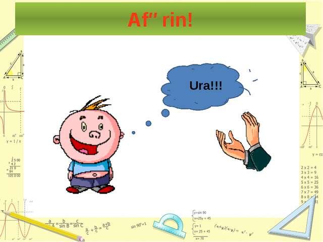 """Testlərə cavab verdikdən sonra """"Afərin!"""" və ya """"Səhvdir!"""" düyməsini basmaq la..."""