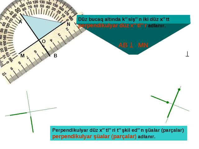 Düz bucaq altında kəsişən iki düz xətt perpendikulyar düz xətlər adlanır. Per...