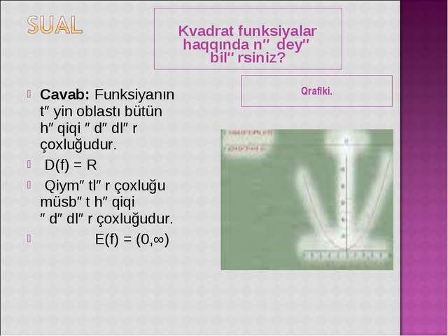 Kvadrat funksiyalar haqqında nə deyə bilərsiniz? Qrafiki. Cavab: Funksiyanın...