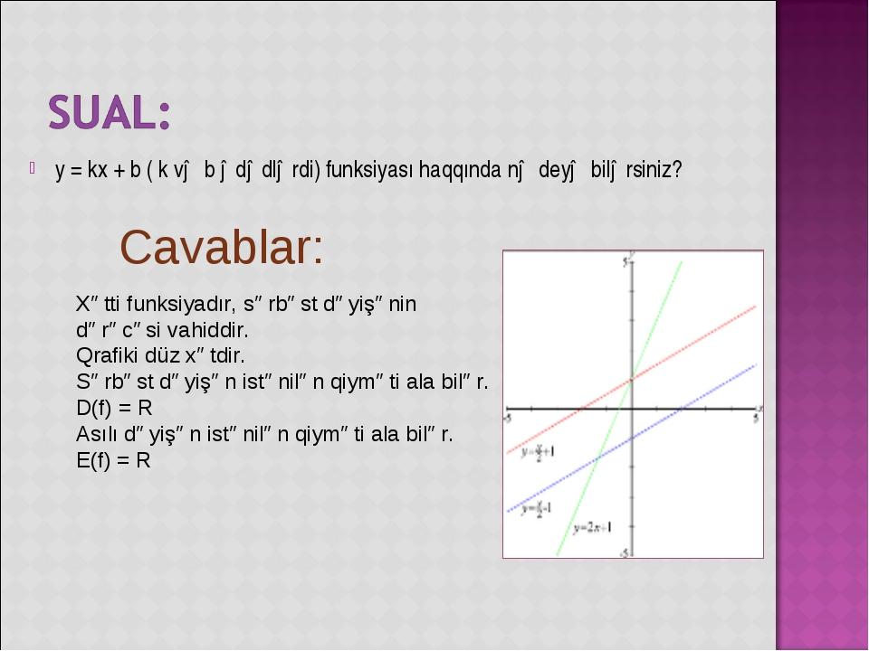 y = kx + b ( k və b ədədlərdi) funksiyası haqqında nə deyə bilərsiniz? Xətti...