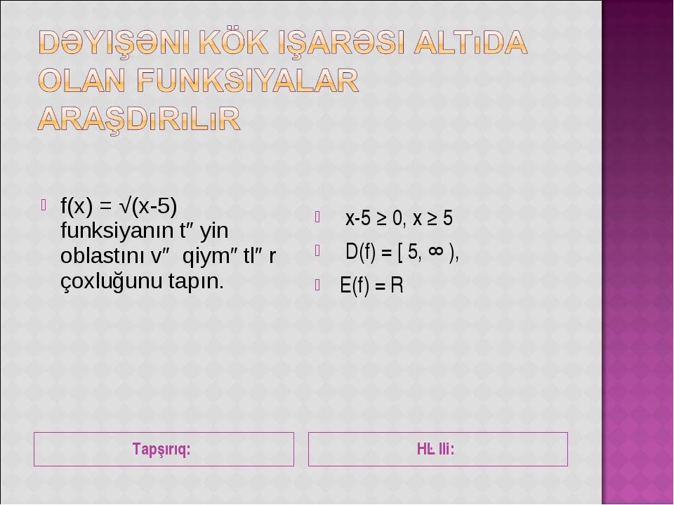 Tapşırıq: Həlli: f(x) = √(x-5) funksiyanın təyin oblastını və qiymətlər çoxlu...