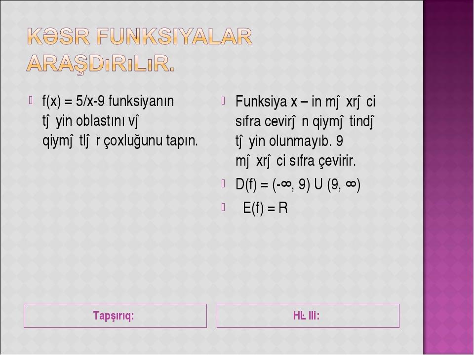 Tapşırıq: Həlli: f(x) = 5/x-9 funksiyanın təyin oblastını və qiymətlər çoxluğ...