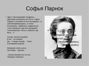 Софья Парнок Цикл стихотворений «Подруга» Цветаева посвятила поэтессе Софье П