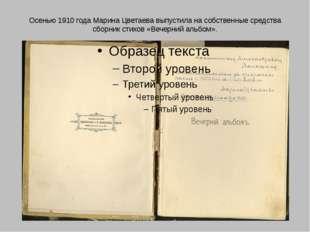 Осенью 1910 года Марина Цветаева выпустила на собственные средства сборник ст