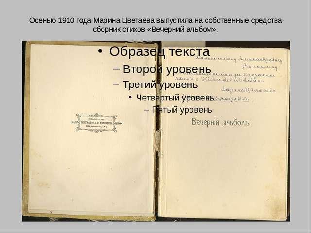 Осенью 1910 года Марина Цветаева выпустила на собственные средства сборник ст...