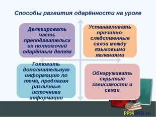 Способы развития одарённости на уроке