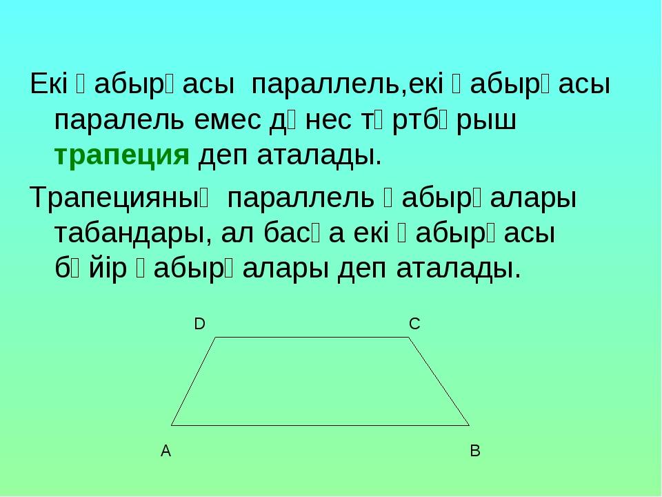 Екі қабырғасы параллель,екі қабырғасы паралель емес дөнес төртбұрыш трапеция...