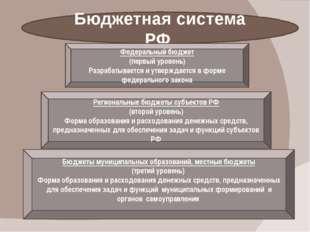 Бюджетная система РФ Федеральный бюджет (первый уровень) Разрабатывается и у