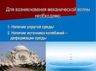 Для возникновения механической волны необходимо: 1. Наличие упругой среды 2.
