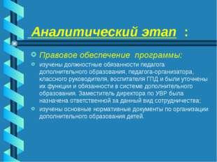 Аналитический этап : Правовое обеспечение программы: изучены должностные обя