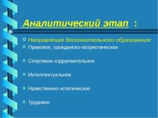Аналитический этап : Направления дополнительного образования: Правовое, граж