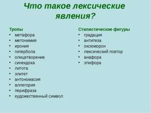 Что такое лексические явления? Тропы метафора метонимия ирония гипербола олиц
