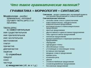 Что такое грамматические явления? ГРАММАТИКА = МОРФОЛОГИЯ + СИНТАКСИС Морфоло