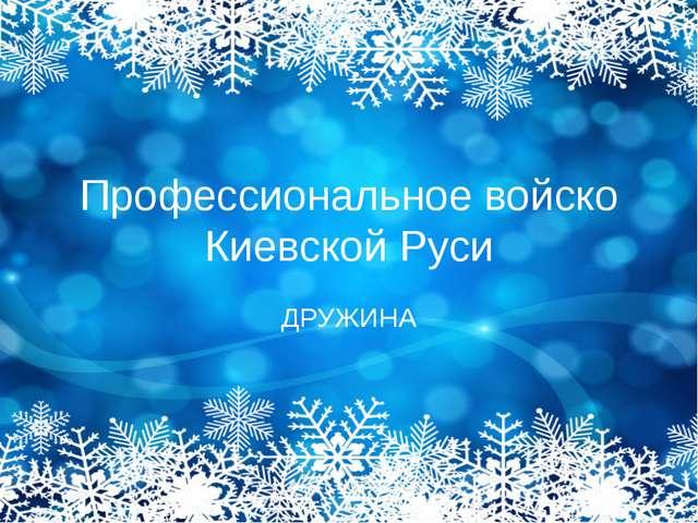 Профессиональное войско Киевской Руси ДРУЖИНА