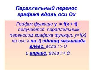 Параллельный перенос графика вдоль оси Ох График функции y = f(x + t) получа
