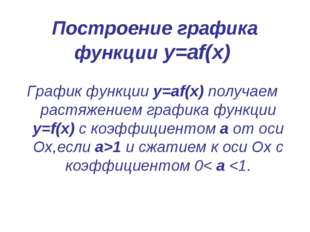 Построение графика функции у=аf(x) График функции у=аf(x) получаем растяжение