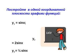 Постройте в одной координатной плоскости графики функций: y1 = sinx; у2 = 2si