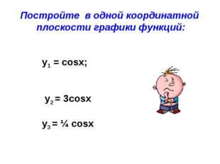 Постройте в одной координатной плоскости графики функций: y1 = cosx; у2 = 3co