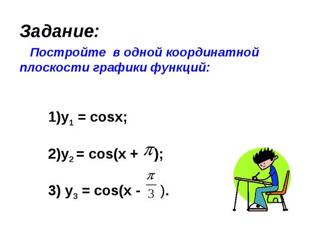 Задание: Постройте в одной координатной плоскости графики функций: 1)y1 = co...