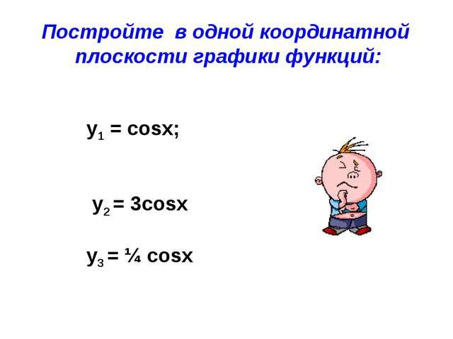 Постройте в одной координатной плоскости графики функций: y1 = cosx; у2 = 3co...