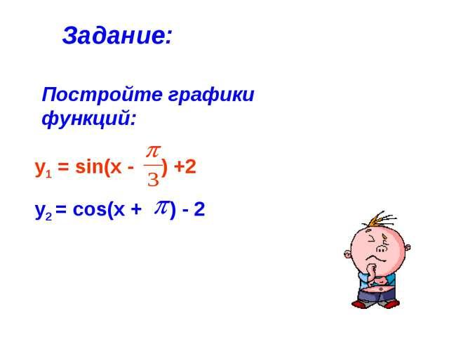 Постройте графики функций: Задание: у2 = cos(x + ) - 2 у1 = sin(x - ) +2