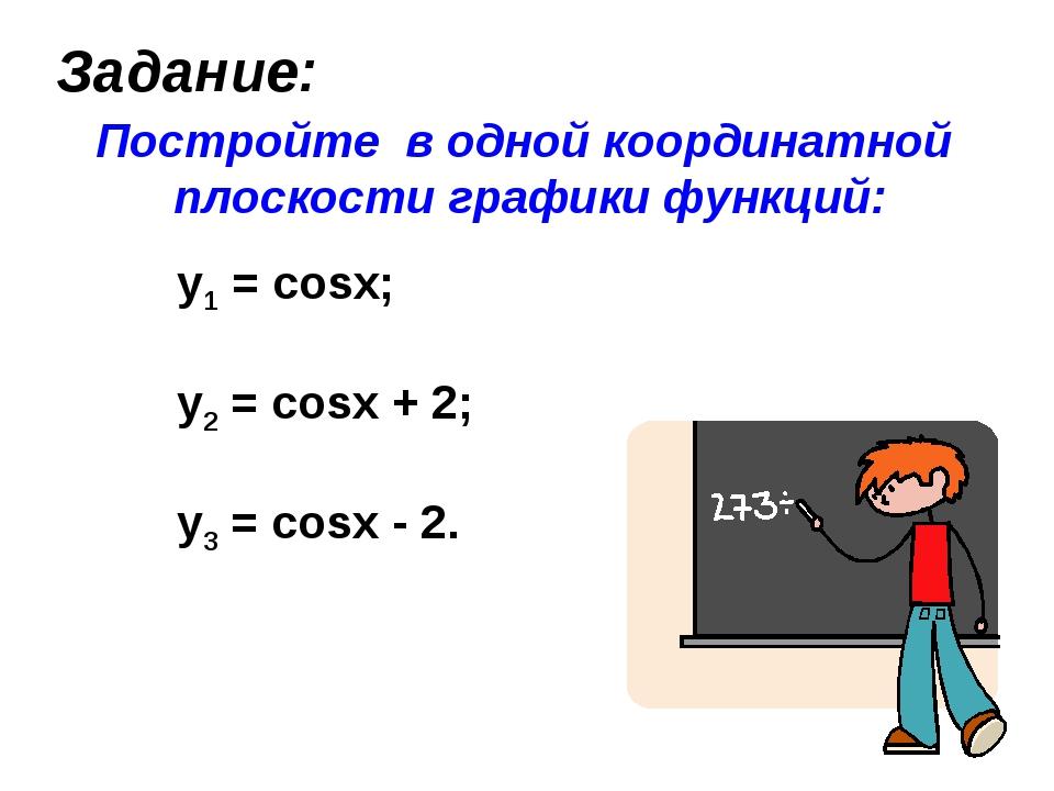 Задание: Постройте в одной координатной плоскости графики функций: y1 = cosx;...