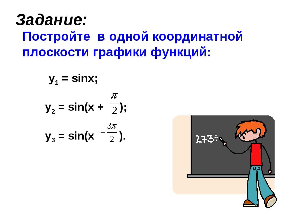 Задание: Постройте в одной координатной плоскости графики функций: y1 = sinx;...