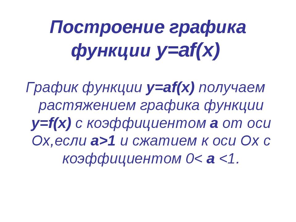 Построение графика функции у=аf(x) График функции у=аf(x) получаем растяжение...