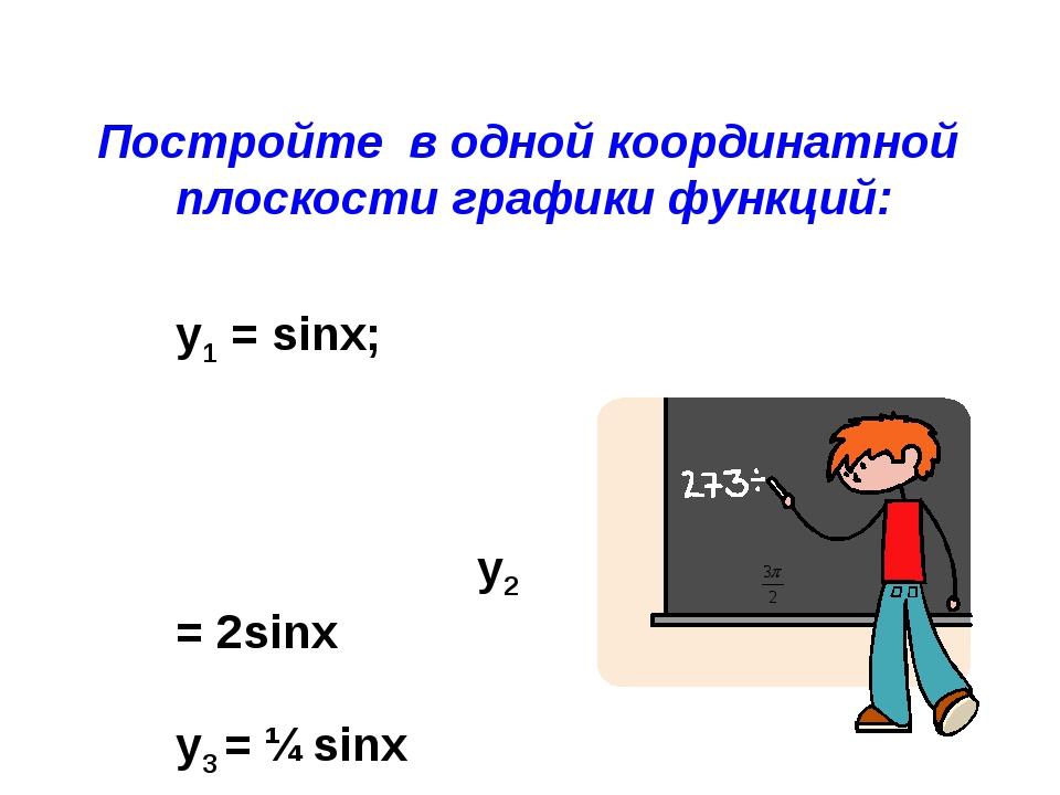 Постройте в одной координатной плоскости графики функций: y1 = sinx; у2 = 2si...