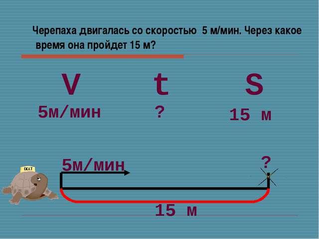 Черепаха двигалась со скоростью 5 м/мин. Через какое время она пройдет 15 м?...