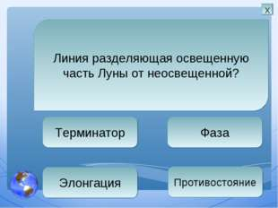 Терминатор Фаза Противостояние Элонгация Линия разделяющая освещенную часть Л