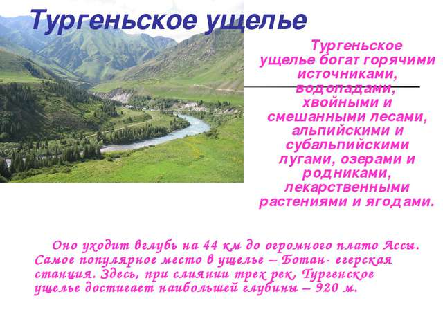 Тургеньское ущелье Тургеньское ущельебогат горячими источниками, водопадами,...