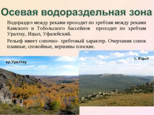 Водораздел между реками проходит по хребтам между реками Камского и Тобольско
