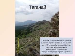 Таганай Тагана́й— группа горных хребтов Южного Урала . Длина 25км, высота