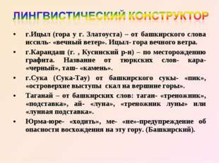 г.Ицыл (гора у г. Златоуста) – от башкирского слова иссиль- «вечный ветер». И