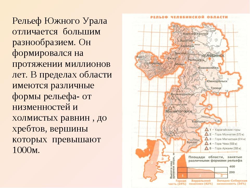 Рельеф Южного Урала отличается большим разнообразием. Он формировался на прот...