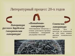 Литературный процесс 20-х годов Литература русского Зарубежья /эмигрантская л