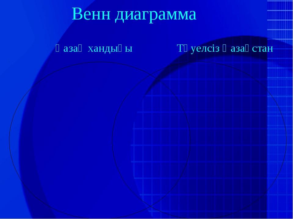 Венн диаграмма Қазақ хандығы Тәуелсіз Қазақстан
