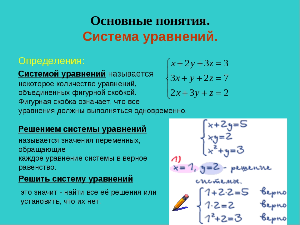 Основные понятия. Система уравнений. Определения: Системой уравнений называет...