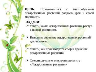 ЦЕЛЬ: Познакомиться с многообразием лекарственных растений родного края и сво