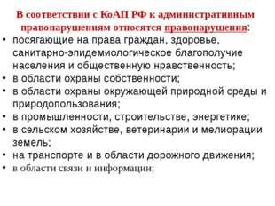 В соответствии с КоАП РФ к административным правонарушениям относятся правона